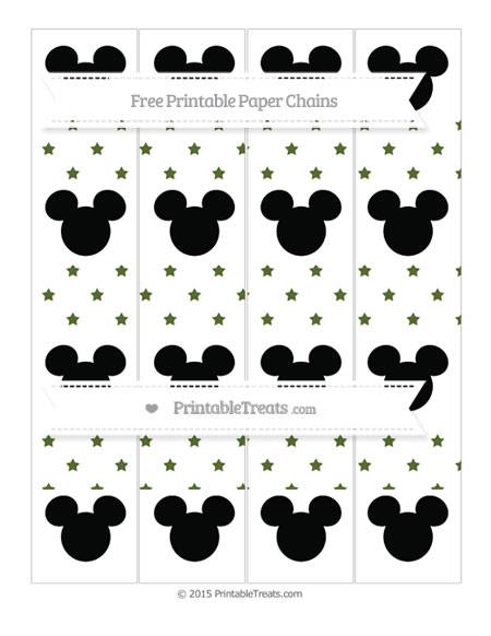 Free Dark Olive Green Star Pattern Mickey Mouse Paper Chains