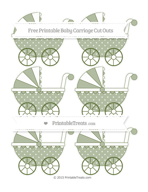 Free Dark Olive Green Star Pattern Small Baby Carriage Cut Outs