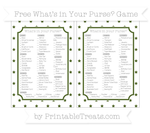 Free Dark Olive Green Star Pattern What's in Your Purse Baby Shower Game