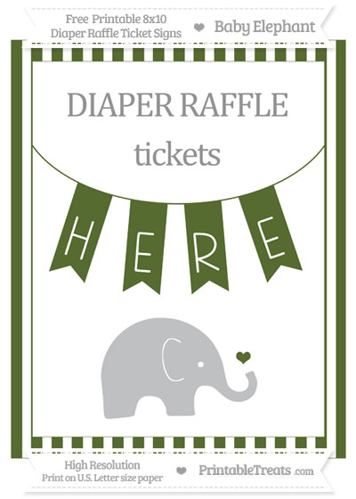 Free Dark Olive Green Striped Baby Elephant 8x10 Diaper Raffle Ticket Sign