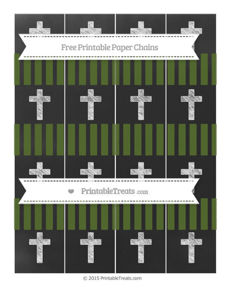Free Dark Olive Green Striped Chalk Style Cross Paper Chains