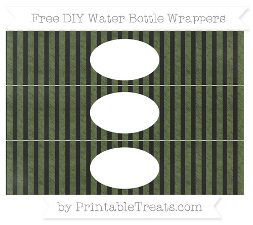 Free Dark Olive Green Striped Chalk Style DIY Water Bottle Wrappers