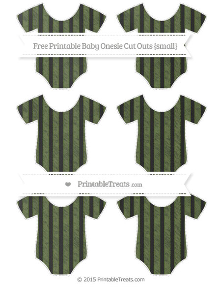 Free Dark Olive Green Striped Chalk Style Small Baby Onesie Cut Outs