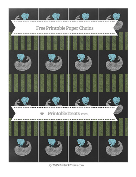 Free Dark Olive Green Striped Chalk Style Whale Paper Chains