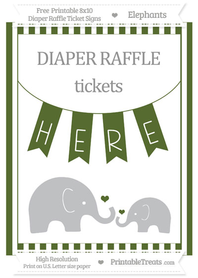Free Dark Olive Green Striped Elephant 8x10 Diaper Raffle Ticket Sign
