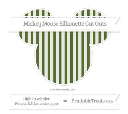 Free Dark Olive Green Striped Extra Large Mickey Mouse Silhouette Cut Outs