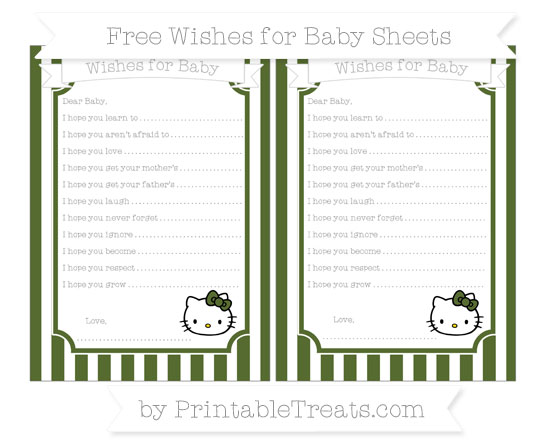 Free Dark Olive Green Striped Hello Kitty Wishes for Baby Sheets