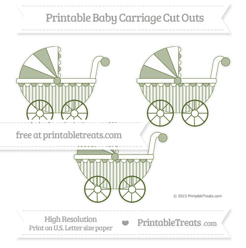 Free Dark Olive Green Striped Medium Baby Carriage Cut Outs