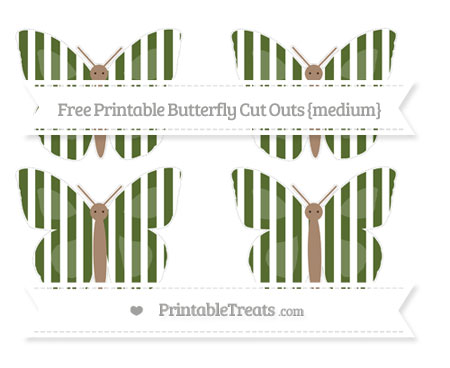 Free Dark Olive Green Striped Medium Butterfly Cut Outs
