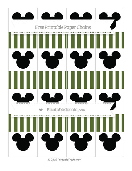 Free Dark Olive Green Striped Mickey Mouse Paper Chains