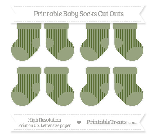 Free Dark Olive Green Striped Small Baby Socks Cut Outs