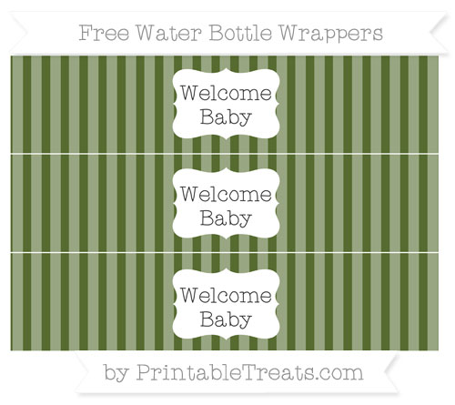 Free Dark Olive Green Striped Welcome Baby Water Bottle Wrappers