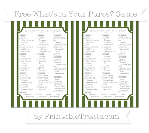 Free Dark Olive Green Striped What's in Your Purse Baby Shower Game
