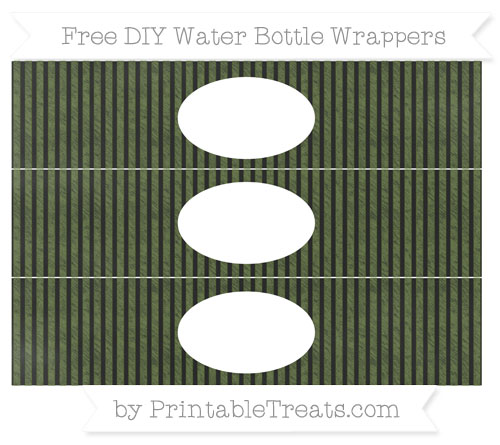 Free Dark Olive Green Thin Striped Pattern Chalk Style DIY Water Bottle Wrappers