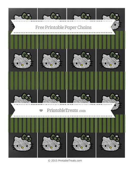 Free Dark Olive Green Thin Striped Pattern Chalk Style Hello Kitty Paper Chains