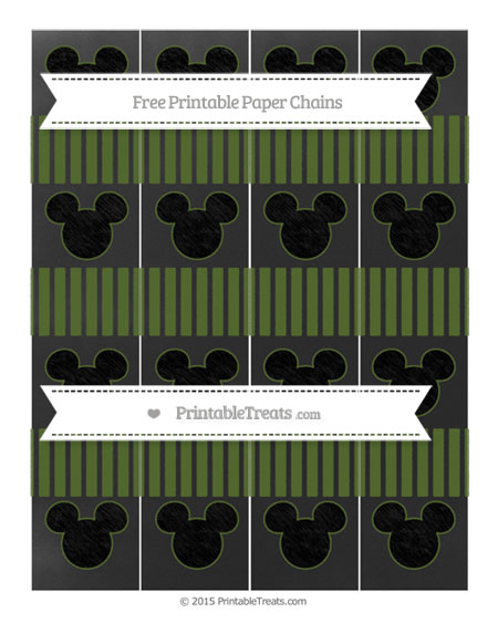 Free Dark Olive Green Thin Striped Pattern Chalk Style Mickey Mouse Paper Chains
