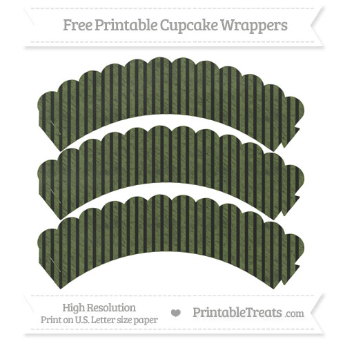 Free Dark Olive Green Thin Striped Pattern Chalk Style Scalloped Cupcake Wrappers