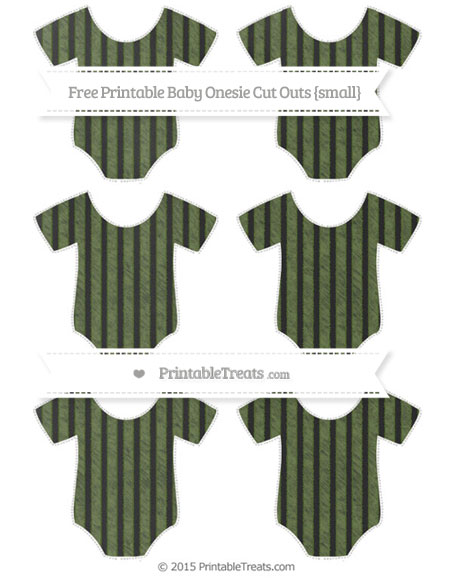 Free Dark Olive Green Thin Striped Pattern Chalk Style Small Baby Onesie Cut Outs