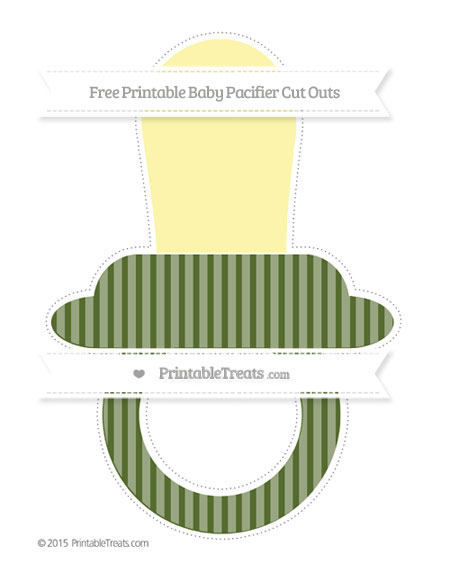 Free Dark Olive Green Thin Striped Pattern Extra Large Baby Pacifier Cut Outs