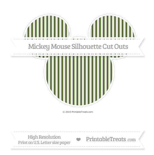 Free Dark Olive Green Thin Striped Pattern Extra Large Mickey Mouse Silhouette Cut Outs