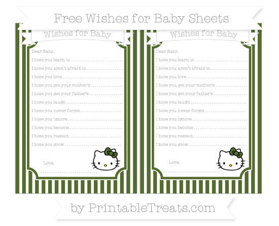 Free Dark Olive Green Thin Striped Pattern Hello Kitty Wishes for Baby Sheets