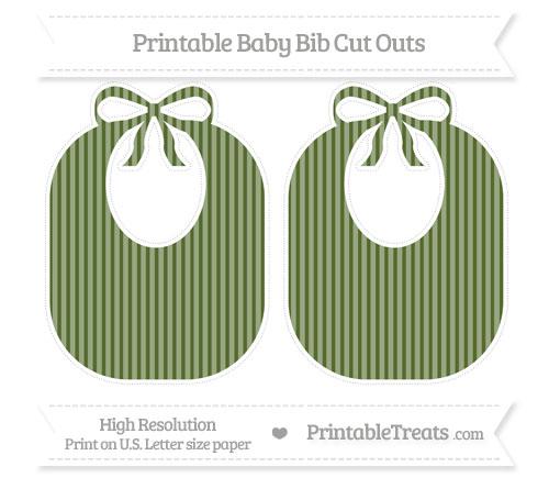 Free Dark Olive Green Thin Striped Pattern Large Baby Bib Cut Outs