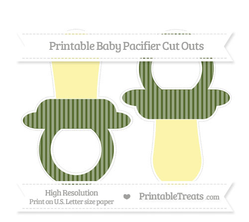 Free Dark Olive Green Thin Striped Pattern Large Baby Pacifier Cut Outs