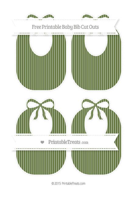 Free Dark Olive Green Thin Striped Pattern Medium Baby Bib Cut Outs
