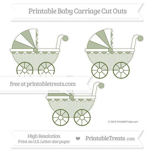 Free Dark Olive Green Thin Striped Pattern Medium Baby Carriage Cut Outs