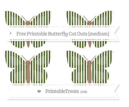 Free Dark Olive Green Thin Striped Pattern Medium Butterfly Cut Outs