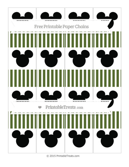 Free Dark Olive Green Thin Striped Pattern Mickey Mouse Paper Chains