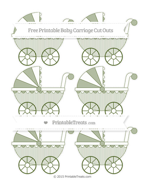Free Dark Olive Green Thin Striped Pattern Small Baby Carriage Cut Outs