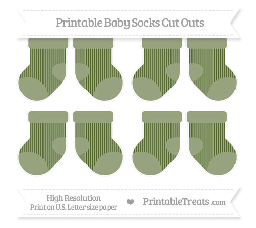 Free Dark Olive Green Thin Striped Pattern Small Baby Socks Cut Outs