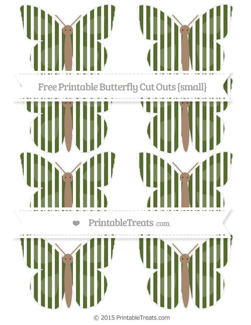 Free Dark Olive Green Thin Striped Pattern Small Butterfly Cut Outs