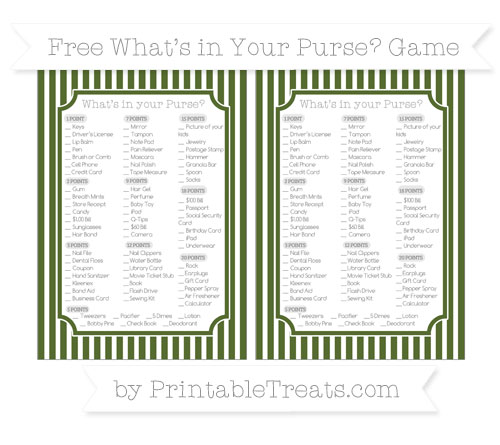 Free Dark Olive Green Thin Striped Pattern What's in Your Purse Baby Shower Game