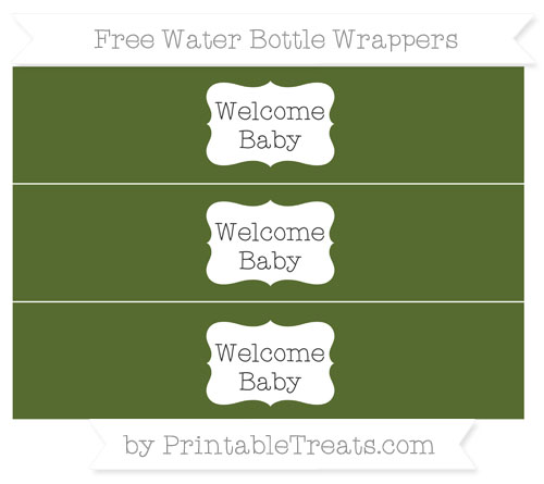 Free Dark Olive Green Welcome Baby Water Bottle Wrappers
