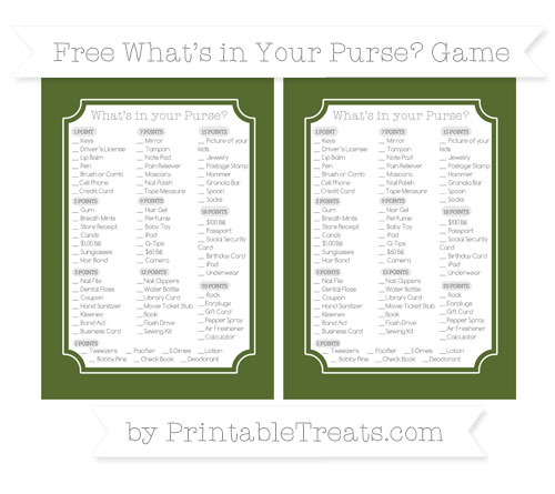 Free Dark Olive Green What's in Your Purse Baby Shower Game
