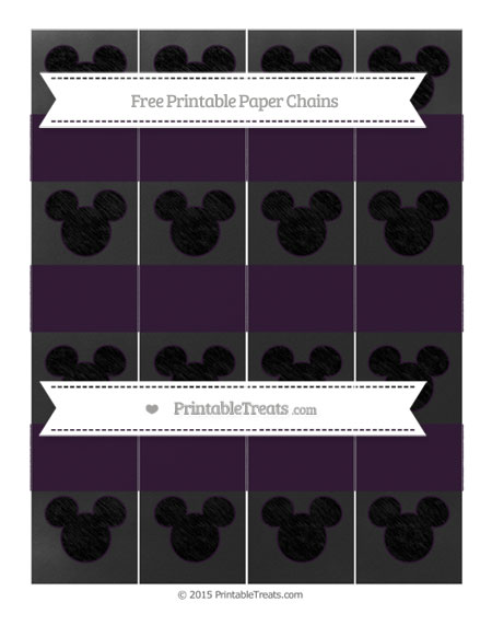 Free Dark Purple Chalk Style Mickey Mouse Paper Chains
