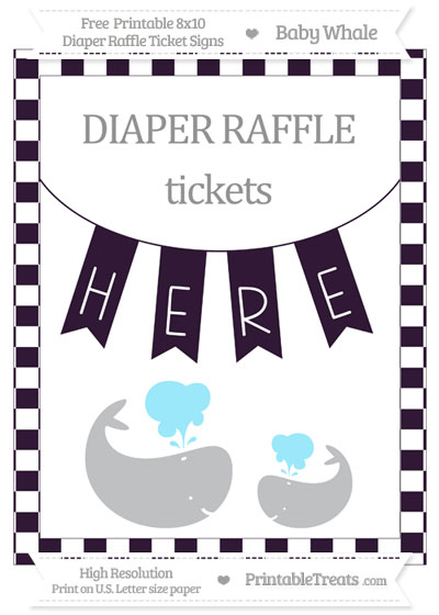 Free Dark Purple Checker Pattern Baby Whale 8x10 Diaper Raffle Ticket Sign