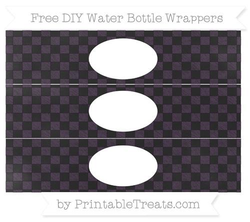 Free Dark Purple Checker Pattern Chalk Style DIY Water Bottle Wrappers