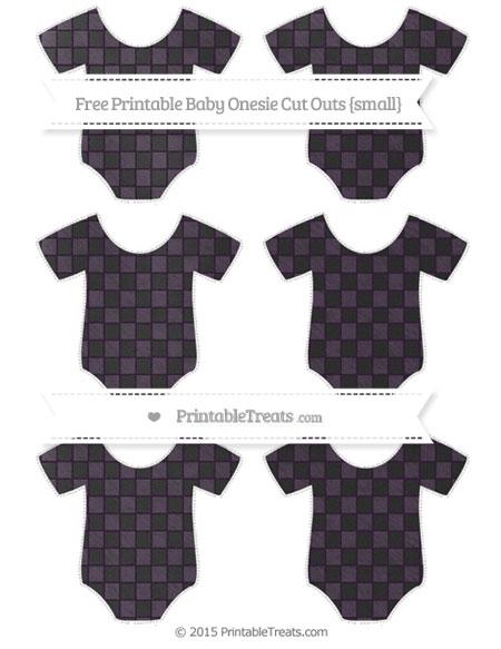 Free Dark Purple Checker Pattern Chalk Style Small Baby Onesie Cut Outs