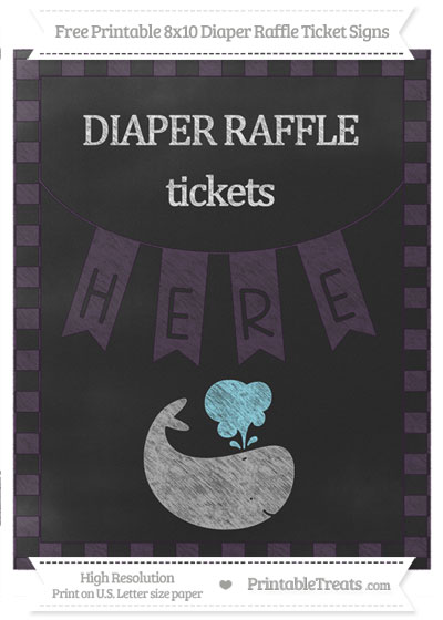Free Dark Purple Checker Pattern Chalk Style Whale 8x10 Diaper Raffle Ticket Sign