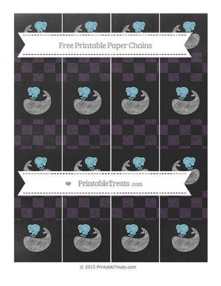 Free Dark Purple Checker Pattern Chalk Style Whale Paper Chains