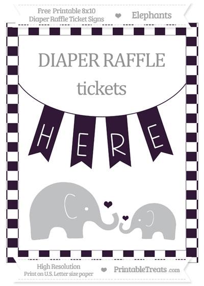 Free Dark Purple Checker Pattern Elephant 8x10 Diaper Raffle Ticket Sign