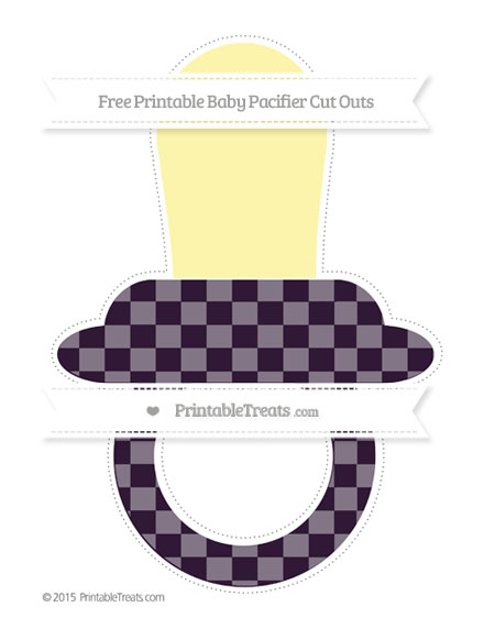 Free Dark Purple Checker Pattern Extra Large Baby Pacifier Cut Outs