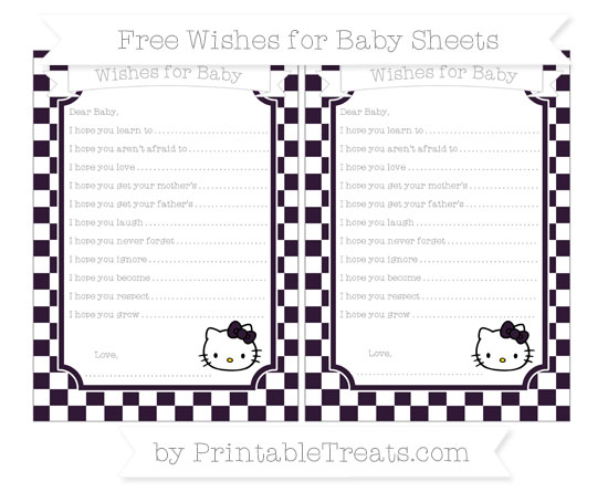 Free Dark Purple Checker Pattern Hello Kitty Wishes for Baby Sheets