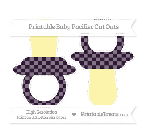 Free Dark Purple Checker Pattern Large Baby Pacifier Cut Outs