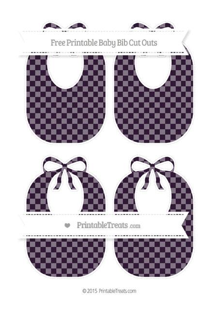Free Dark Purple Checker Pattern Medium Baby Bib Cut Outs