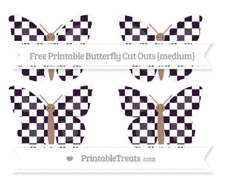Free Dark Purple Checker Pattern Medium Butterfly Cut Outs