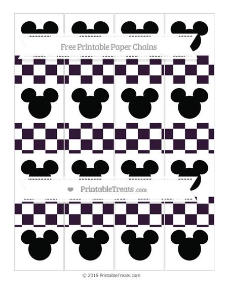 Free Dark Purple Checker Pattern Mickey Mouse Paper Chains